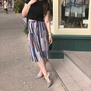 Pants - Pleated culottes wide leg striped pants chiffon S